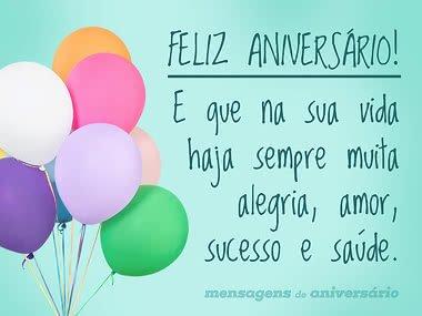 Alegria, amor, sucesso e saúde sempre