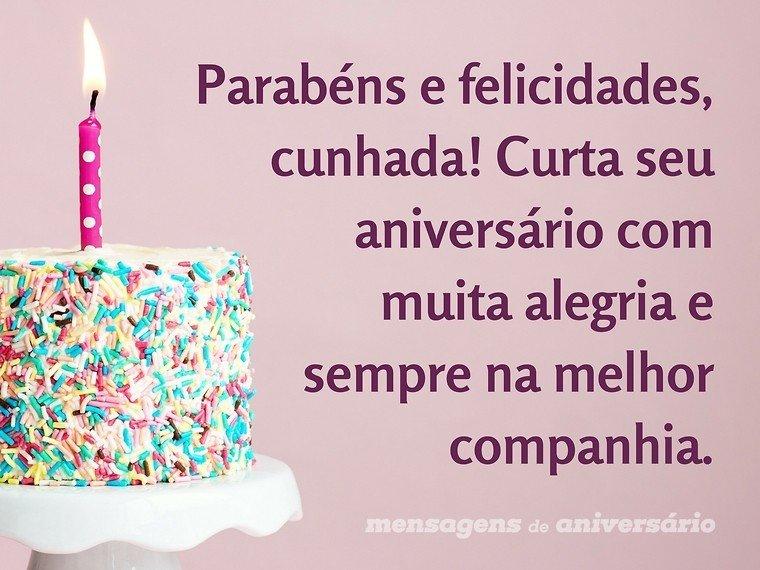 Cunhadinha Querida Feliz Aniversário: Parabéns E Felicidades, Cunhada