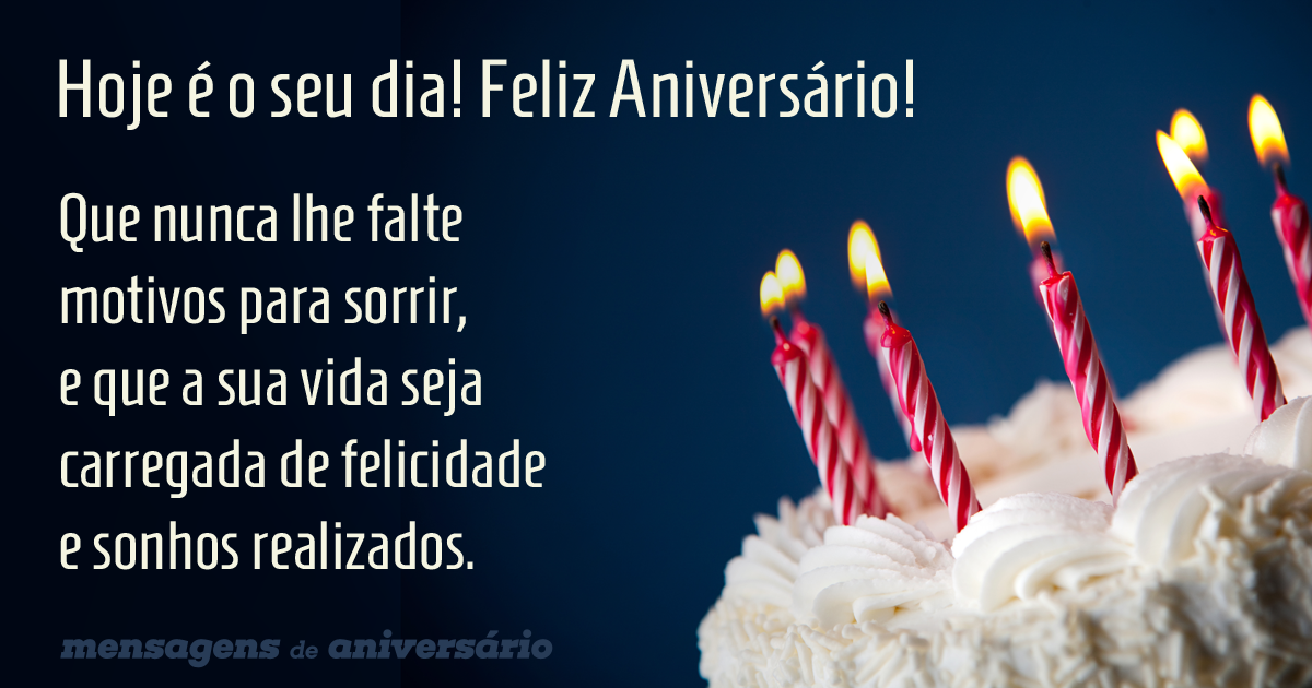 Mensagem de Aniversário com bolo e velas