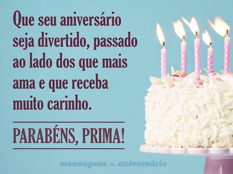 Desejo um aniversário divertido, prima
