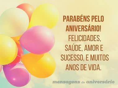 Parabéns pelo aniversário e muitas felicidades