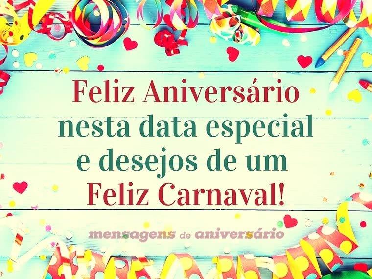 Feliz aniversário e feliz carnaval