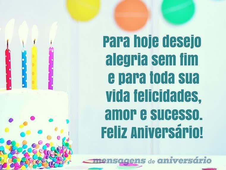 Desejo alegria sem fim para seu aniversário