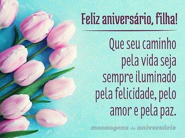 mensagem de aniversario para filha com flores